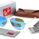 Ray-Ban RB 3025 112/17 Gold w/ Blue Mirror Lens Unisex Aviator Sunglasses