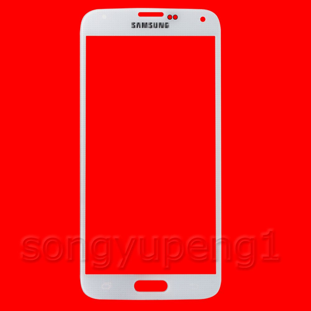 White Front Glass Screen Lens Replacement + Adhesive for Samsung Galaxy S5 - White G900 i9600