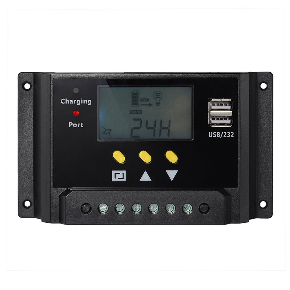30A PWM Solar Panel Regulator Charge Controller 12/24v 360/720W Dual USB LCD