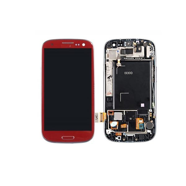 LCD Display+Touch Screen with frame part for Samsung Galaxy S3 SIII GT-i9300 Red