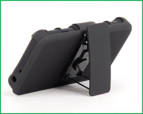 LG Optimus L70 Rugged Hybrid Belt Clip Holster Stand + Hard Case Skin Cover