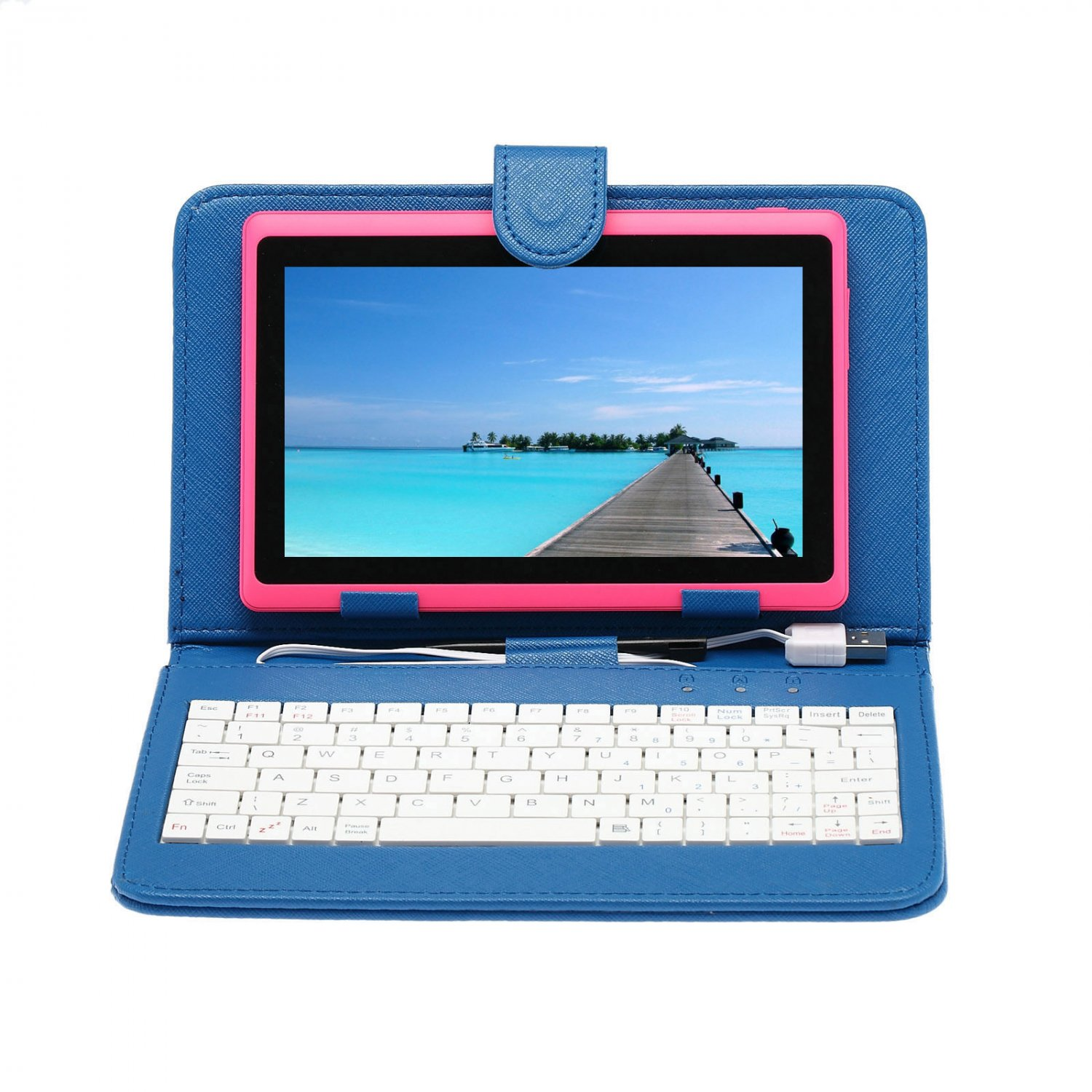 """IRULU eXpro X1 Pink 7"""" Tablet PC Android 4.2 Dual Core 8GB w/ Blue Keyboard"""
