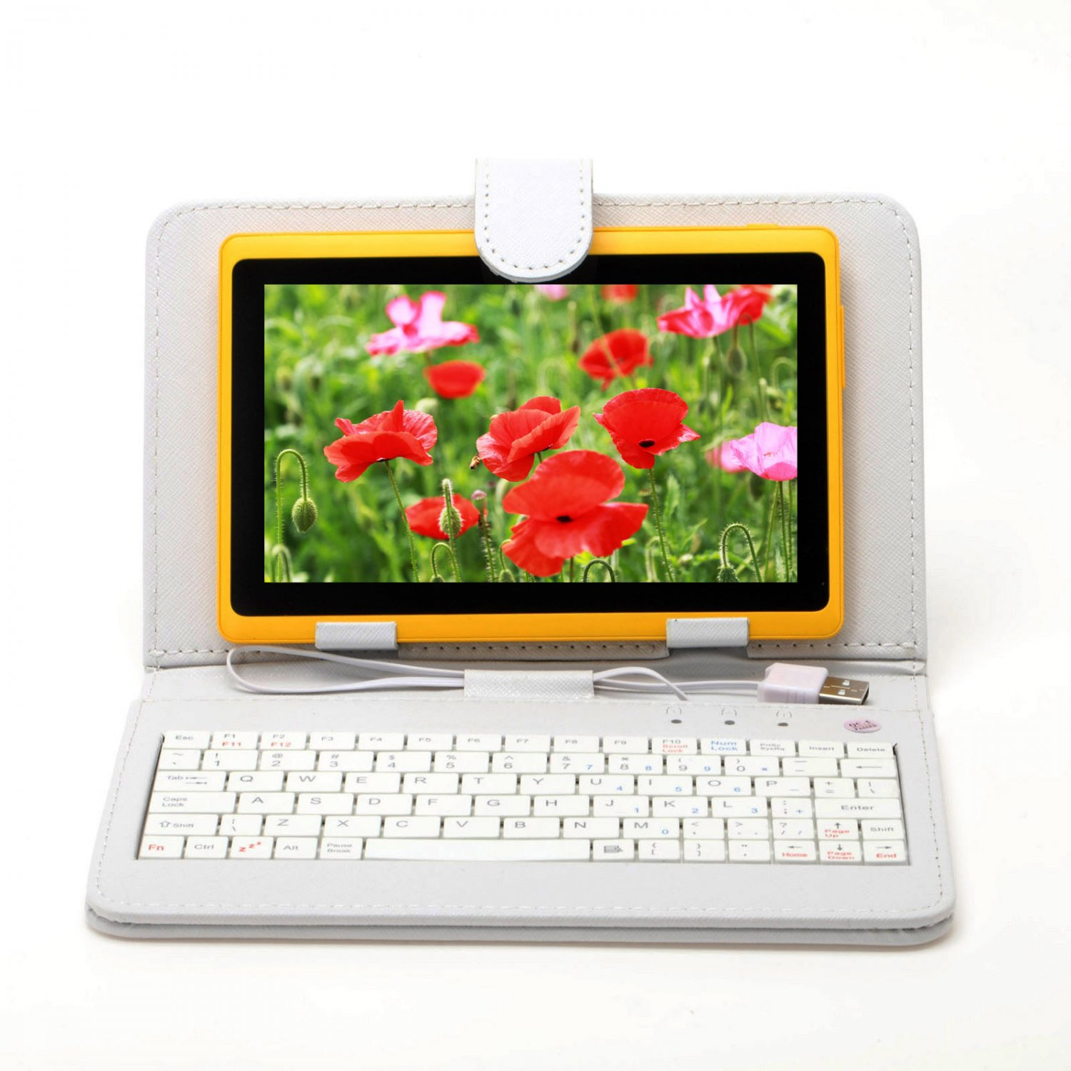 """IRULU eXpro X1 Yellow 7"""" Tablet PC Android 4.2 Dual Core 8GB w/ White Keyboard"""