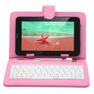 """IRULU 7"""" Tablet PC Android 4.2 2G GSM Phablet 8GB WiFi Dual Cam w/Pink Keyboard"""