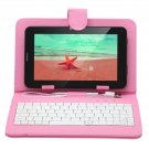 """IRULU 7"""" Tablet PC Android 4.2 2G GSM Phablet 16GB WiFi Dual Cam w/Pink Keyboard"""