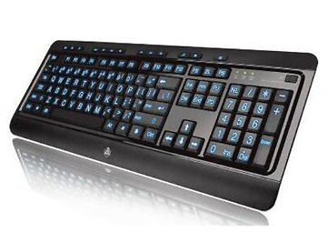 AZIO USB Keyboard  KB505U Large Print Tri-Color Illuminated W/ Red Blue or Purple