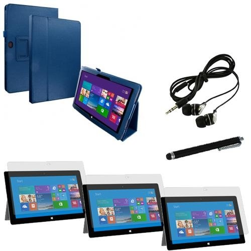 Microsoft Surface Pro 2 / Pro Flip Folio Navy Blue Leather Cover Accessories