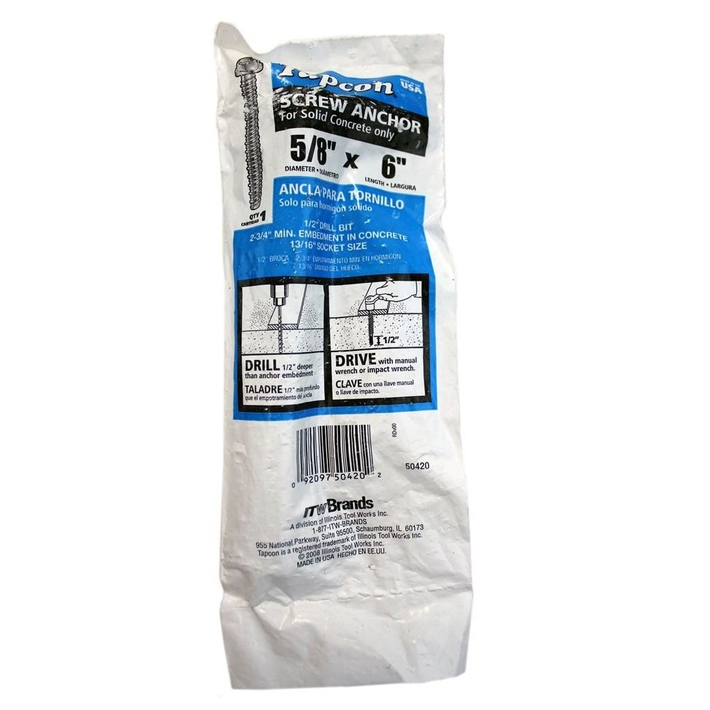 Tapcon 5/8 x 6 in. Hex-Head Large Diamater Concrete Anchor - 50420