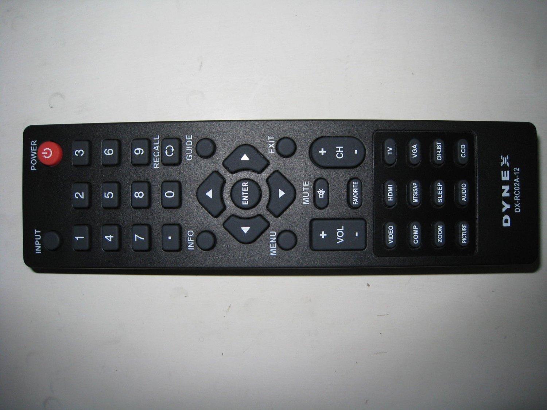 DYNEX DX-RC02A-12 ORIGINAL TV REMOTE DX-32E250A12 / DX-32L221A12 / DX-40L260A12