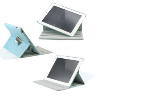 New iPad 3 - IPAD 2 360 Rotating Magnetic Leather Blue Case Stand