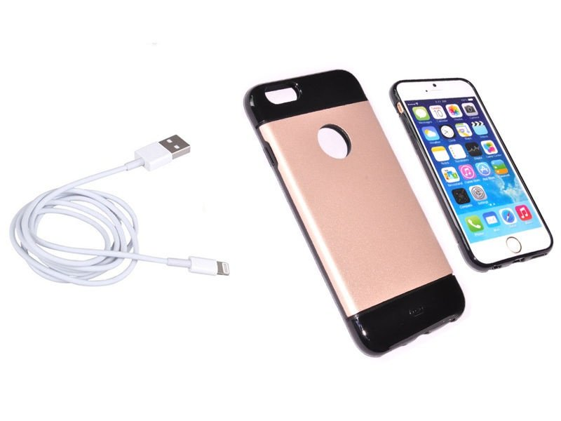 USB Cable and Slim Hybrid Rubber Fusion Protective soft case for iphone 6 4.7