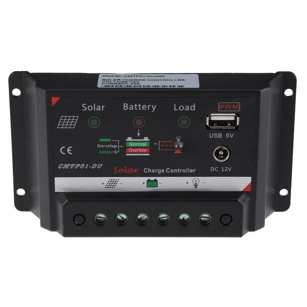 20A 12V PWM Solar Panel Charge Controller Auto Battery Regulator USB DC Port