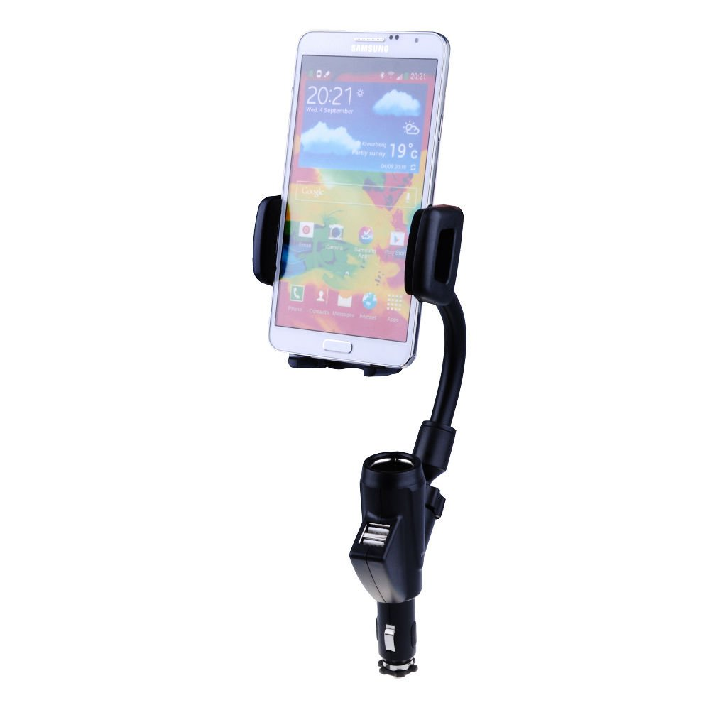 Universal Dual 2 in 1 Car Charger Adjustable Mount holder Stand for Cell Phones
