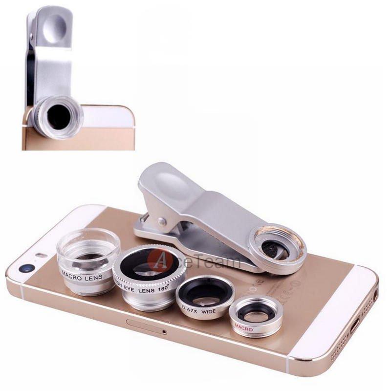4in1 Fish Eye + Wide Angle Macro + 6.0X Macro Lens Camera fr iPhone 6 6 Plus 5s