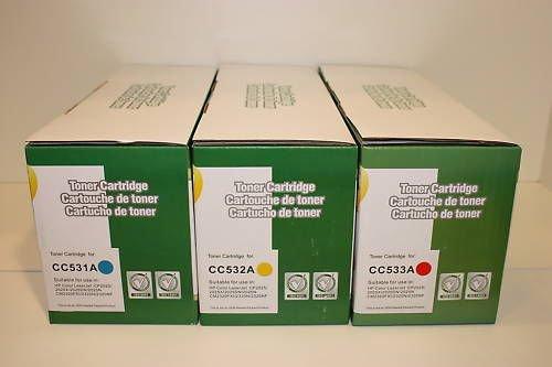 New 3 Color Toner Cartridge CC531A CC532A CC533A for HP CP2025 CM2320