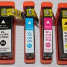 New 1 Set 4 Ink Cartridge 31-32-33-34 for Dell V525 V725w High Yield Printer