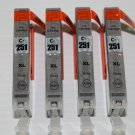 4 x Gray CLI-251XL Ink Cartridge for Canon Pixma Printer MG6320 IP7220 6452B001