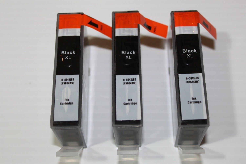 Reman 564XL 4 Black Ink for HP PhotoSmart C6350 C6375 C6380 C6383 C6388