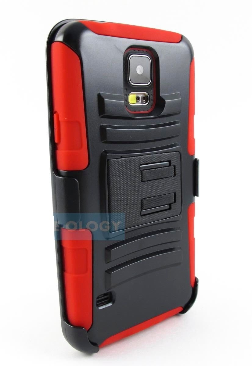 New Black and Red Rugged Armored Hybrid Case Cover for Samsung Galaxy Phones