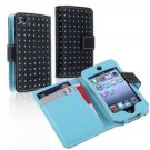 Blue Dot Flip PU Leather Card Holder Wallet Case Cover Pouch For iPod Touch 4 4G