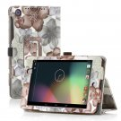 Flower-Black New Google Nexus 7 II 2nd Android TabletPU Leather Case Cover Stand Multi-Color
