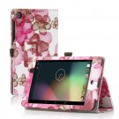 Flower-Pink New Google Nexus 7 II 2nd Android TabletPU Leather Case Cover Stand Multi-Color