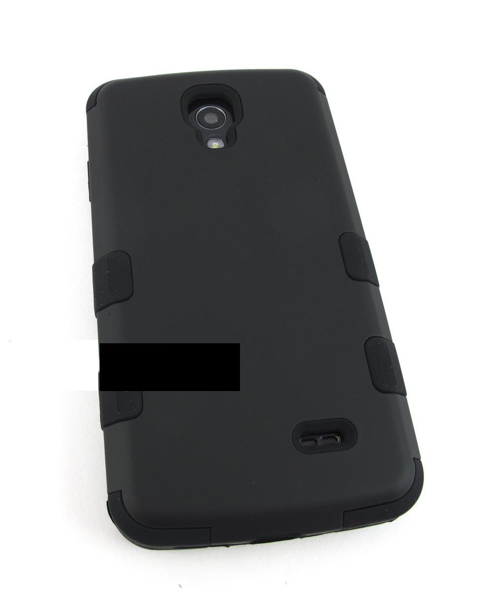 Full Black Reinforced Rugged Tuff Hard Case Cover For Lg Volt Ls740 F90