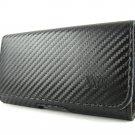 Samsung Galaxy S 6 S6 Edge Black Carbon Fiber Leather Clip Pouch Holster Case