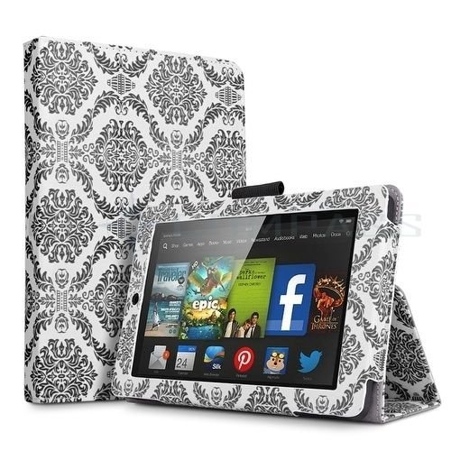 """For 2014 Amazon Kindle Fire HD 6""""  Folio PU Leather Case Smart Cover Stand damask Black"""
