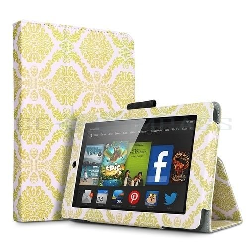 """For 2014 Amazon Kindle Fire HD 6""""  Folio PU Leather Case Smart Cover Stand damask gold"""