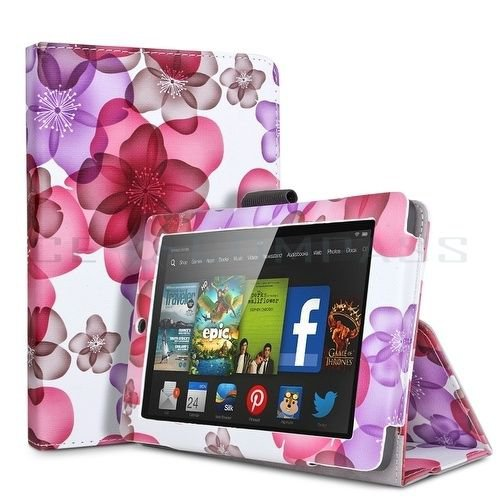 """For 2014 Amazon Kindle Fire HD 7""""  Folio PU Leather Case Smart Cover Stand flower pink"""
