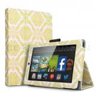 "For 2014 Amazon Kindle Fire HD 7""  Folio PU Leather Case Smart Cover Stand damask gold"