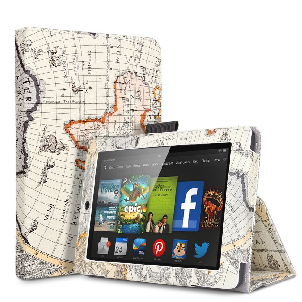 """For 2014 Amazon Kindle Fire HD 7""""  Folio PU Leather Case Smart Cover Stand map-beige"""