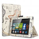"For 2014 Amazon Kindle Fire HD 7""  Folio PU Leather Case Smart Cover Stand map-beige"