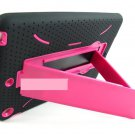For Apple IPAD Mini Rugged Armor Impact  Black & Pink Case Cover - Stylus