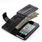 Card Holder Flip Wallet Leather Case Cover Skin For Apple iPhone 4 4G Gen Black