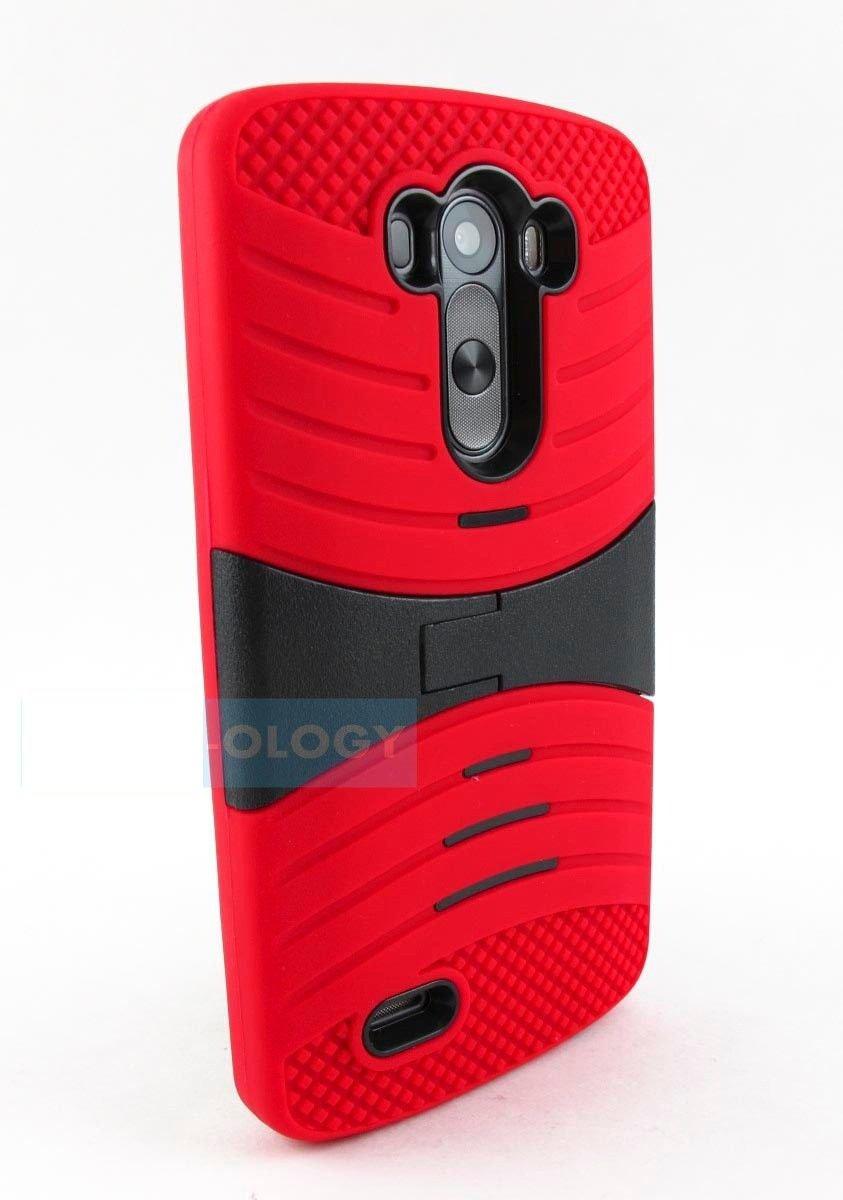 For LG G Flex EXO Stretch Heavy Duty Hybrid Red & Black Case Cover Stylus Pen