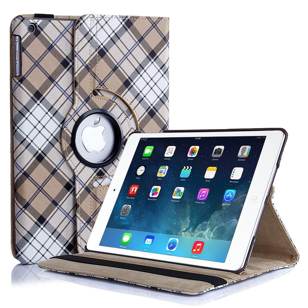 New Plaid Beige iPad Air 5 4 3 2 & iPad Mini PU Leather Case Smart Cover Stand
