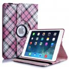 New Plaid-Pink iPad Air 5 4 3 2 & iPad Mini PU Leather Case Smart Cover Stand