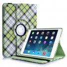 New Plaid-Green iPad Air 5 4 3 2 & iPad Mini PU Leather Case Smart Cover Stand