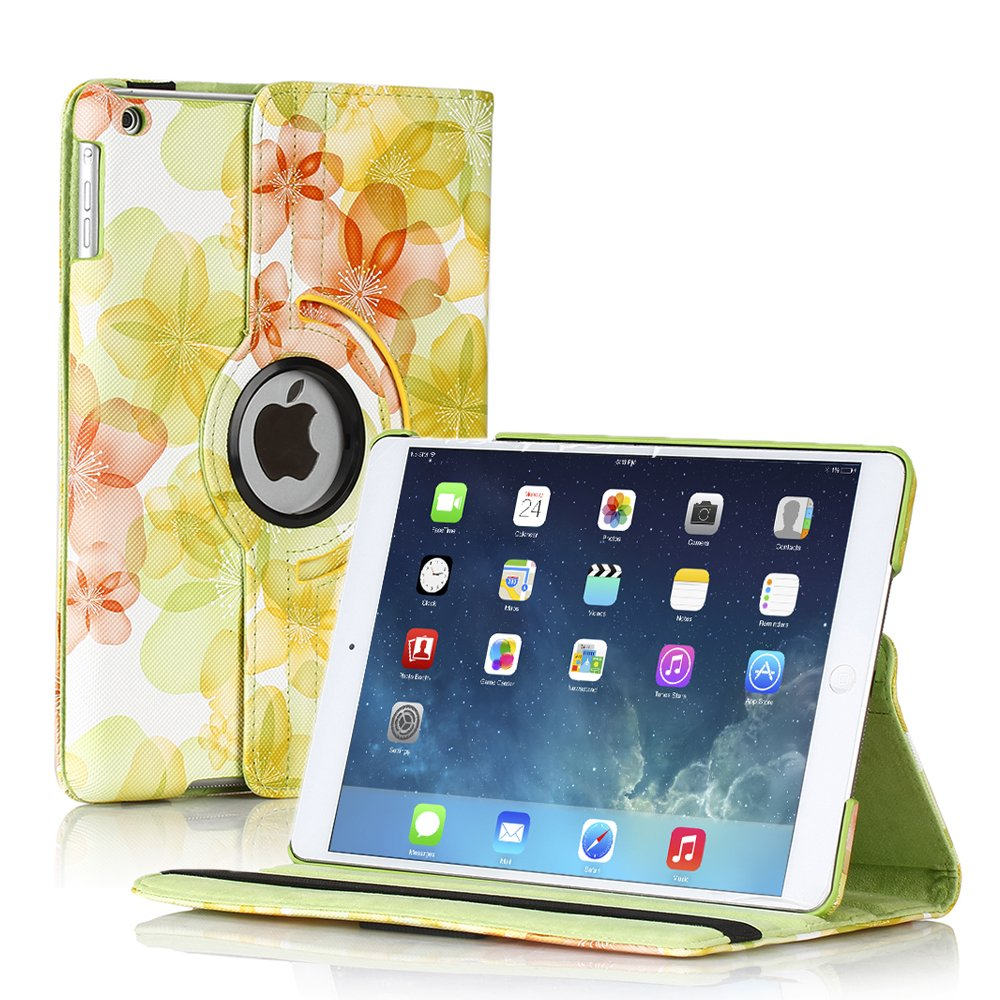 New Flower-Green iPad Air 5 4 3 2 & iPad Mini PU Leather Case Smart Cover Stand