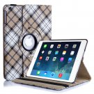 New Plaid-Beige iPad Air 4 3 2 & iPad Mini PU Leather Case Smart Cover Stand