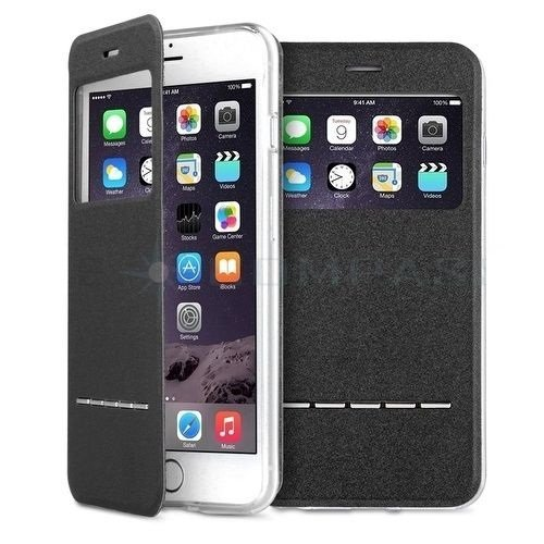 New Black Flip PU Leather Window Wallet Case Cover For Apple iPhone 6 and 6 plus