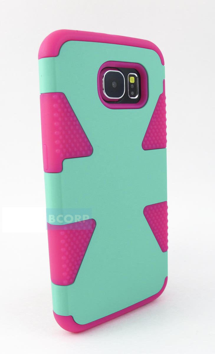 New Mint Green & Pink Samsung Galaxy S6 S 6  Hybrid Dual Layer Case Cover