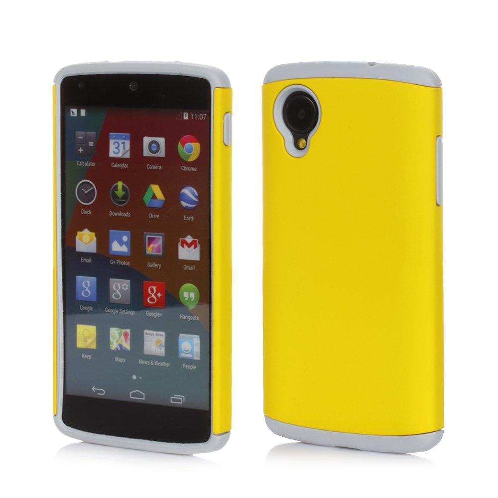 New Yellow Hybrid Shockproof Rubber Matte Hard Case Cover For LG Google Nexus 5