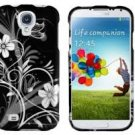 Black Silver Vines Hard Case Cover For Samsung Galaxy S IV 4 S4 I9500