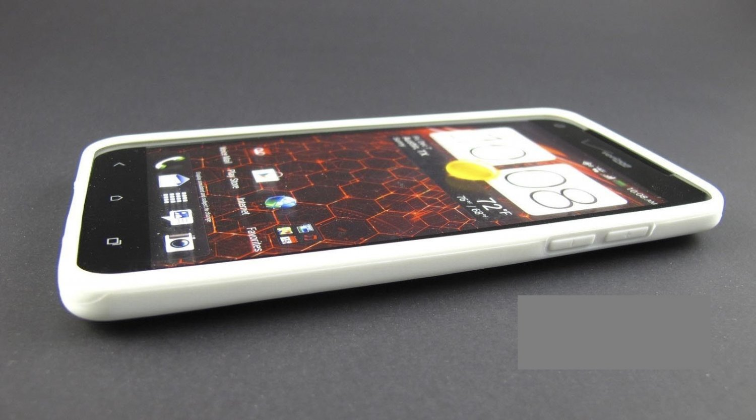 White Clear Hard Gel Hybrid Skin Case Cover For Htc Droid Dna 6435