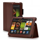 """New Plain-Brown Kindle Fire HDX 7"""" PU Leather Folio Stand Cover Case"""