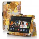 "New Flower-Yellow Kindle Fire HDX 7"" PU Leather Folio Stand Cover Case"