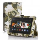 "New Camouflage-Green Kindle Fire HDX 7"" PU Leather Folio Stand Cover Case"